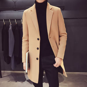New Mens Boutique Thickening Medium and Long Woolen Coat Mens Business Casual Long Jacket Keep Warm Solid Color Long Windbreaker