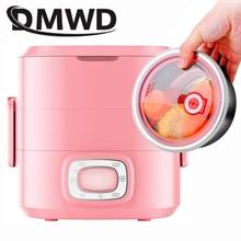 DMWD портативная Мини электрическая рисоварка Электрический нагревательный Ланч-бокс Bento 2 слоя 1.5L подогреватель пищи подогреватель еды Пароварка контейнер