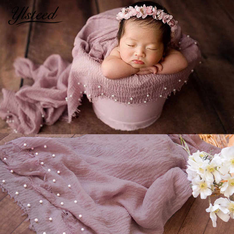 Ylsteed Newborn Photo Props Pearl Baby Shooting Photo Wrap with Tassel Baby Basket Stuffer Infant Photography Blanket Backdrop