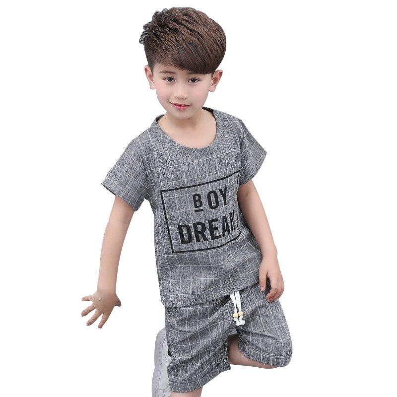 School 5-14Y Boy Sets Tops /& Pants Casual Letter Short Sleeve Kids Sports Suit