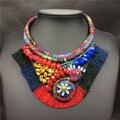 Cuello maxi boho chic indio collar hecho a mano tejida cuerda de algodón trenzado cuerda joyería tribal étnica collier collar turco