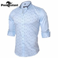 PoniGalant Autumn 100% Cotton Shirt Men Slim Fit Long Sleeve Shirt Clothing Brand Camisa Social Asian Size M-5XL