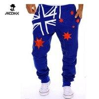Calças homens Basculador Moda 2016 Nova Mens Corredores de Pista Legal Suor calças Calças Calças Hip Hop Largas preto