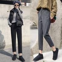 2018 Autumn Winter New Casual Trousers Women Slim Woolen Harem Pants Female Lattice Korean Style Pencil Pants Ladies Clothing