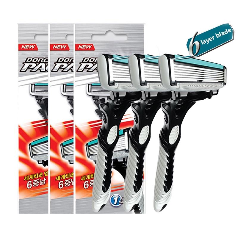 New Good Quality Dorco Razor Men 3 Pcs/lot 6-Layer Blades Razor for Men Shaving Stainless Steel Safety Razor Blades