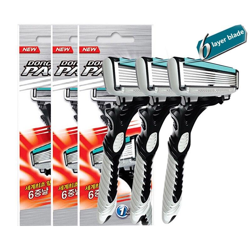 Nueva buena calidad dorco Maquinillas de afeitar hombres 3 unids/lote 6 Maquinillas de cuchillas de afeitar para hombres afeitado Acero inoxidable Seguridad Maquinillas de afeitar cuchillas