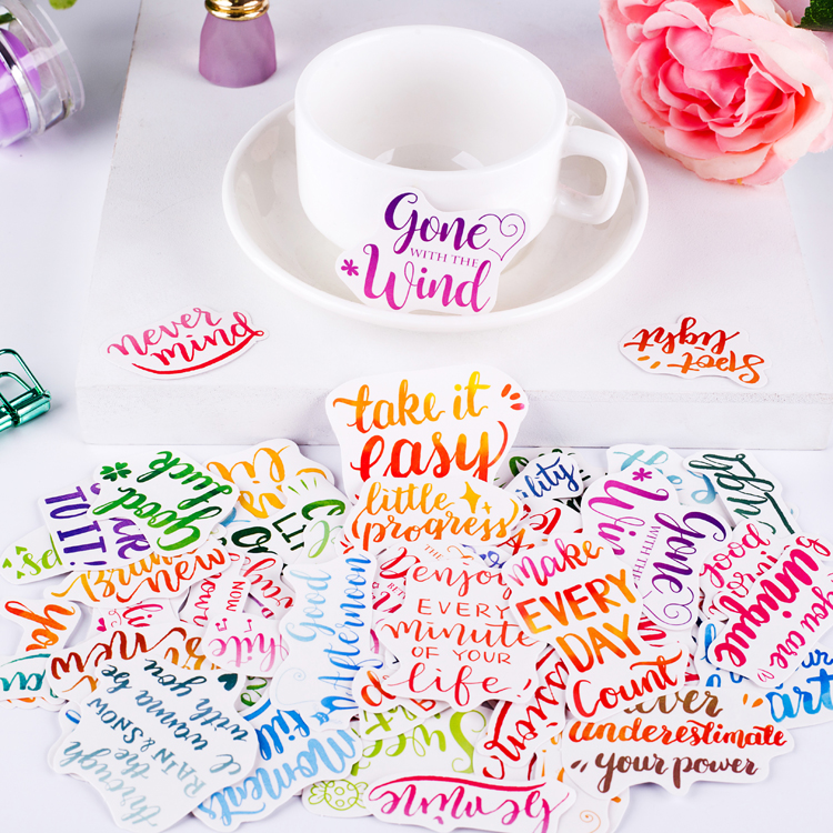 80pcs Cute Self-made Literary Fresh Greetings  Scrapbook Stickers Letters/decorative  /DIY Craft Photo Albums  Waterproof