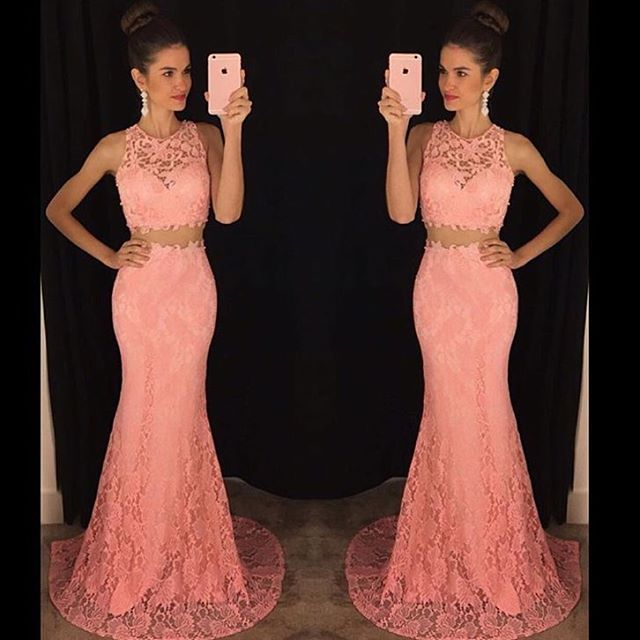 Coral Two Pieces Mermaid Long Prom Dresses 2019 Sleeveless O Neck 2 Pieces  Teens Formal Evening Wear Prom Party Gowns Cheap d3d191df16a5
