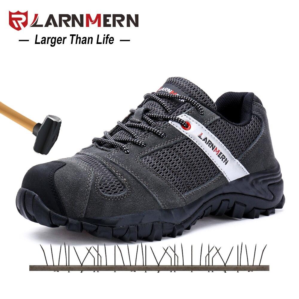 LARNMERN мужские сталь носок кепки Рабочая обувь Синтетическая кожа Повседневное анти-обувь для прыжков открытый проколов тапки