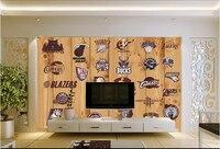 العرف papel دي parede infantil فريق القياسية الخشب الحبوب للأطفال غرفة المعيشة التلفزيون جدار الفينيل papel دي parede