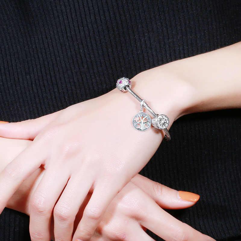 SG 925 серебряные подвески потепление семьи Древо жизни бусинами Fit Аутентичные Pandora Браслеты ювелирных изделий DIY Валентина подарки