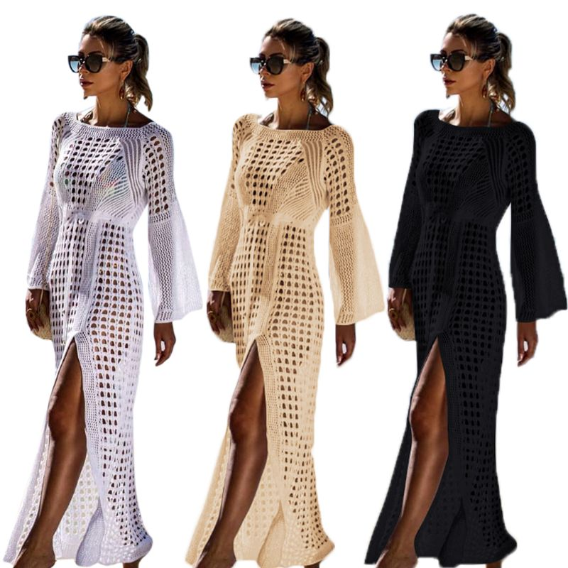 Womens Flare Sleeves Bikini Cover Up Crochet Knitted Hollow Grid Belted High Waist Maxi Beach Dress High Split Holiday Sundress