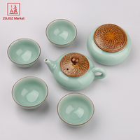 ZGJGZ Chinese Longquan Celadon 6pcs Tea Cups Bowl Tea Caddy Teapot Set Beauty Pigmented Product Tea