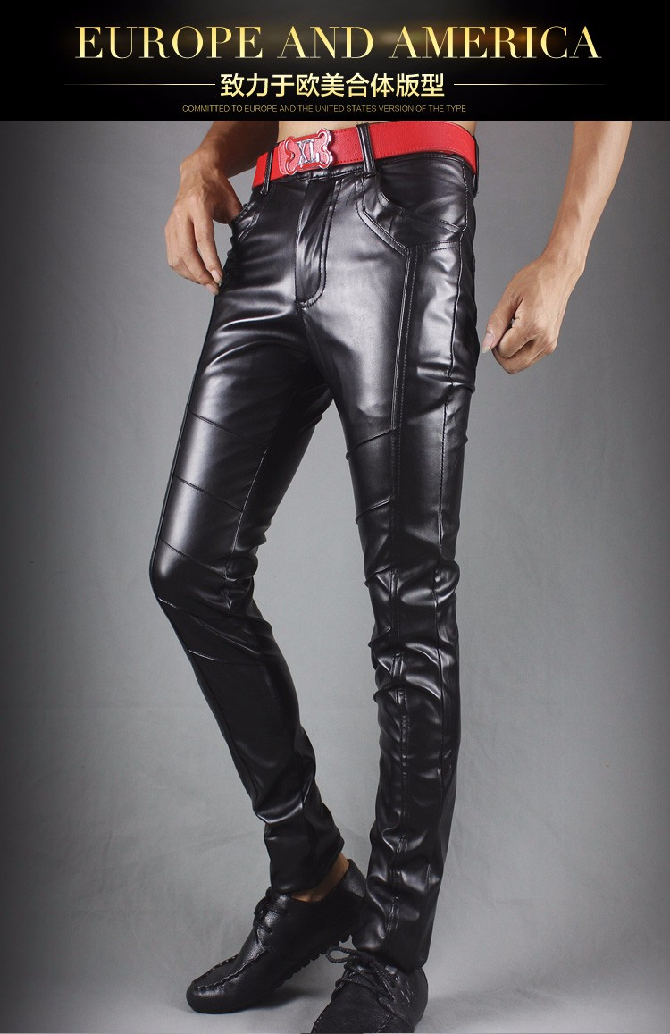 Winter new leather pants men Slim flesh tight pants motorcycle night club hair stylist feet leather pants tide 30