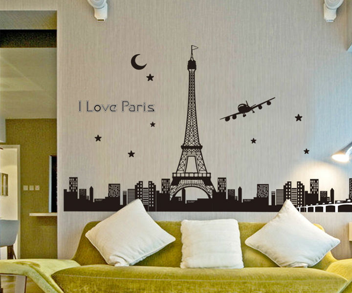 paris medianoche creado pegatinas de pared para cuartos de los nios decoracin de diy wallpaper