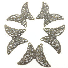 10Pcs Embelishment Connectors Antique Bronze Tone Butterfly Animal Filigree Wraps Classical Alloy Jewelry DIY Findings 41x29mm