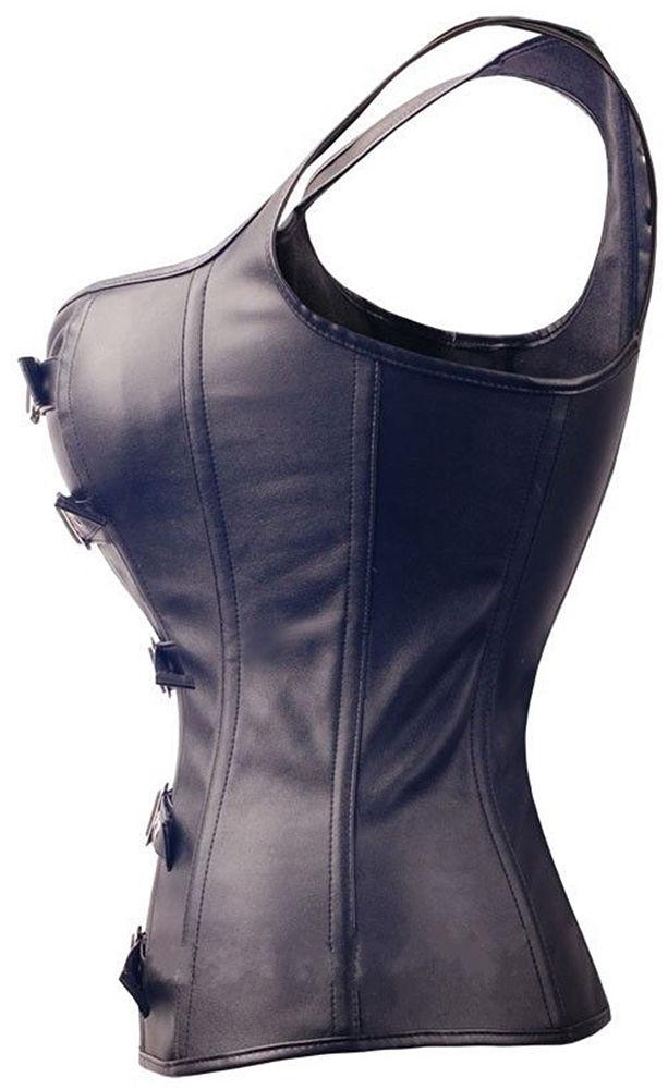 Image 3 - Sexy Lingerie Black Faux Leather Front Zipper Steel Boned Steampunk Corset Bustier Plus Size S 6XL-in Bustiers & Corsets from Underwear & Sleepwears