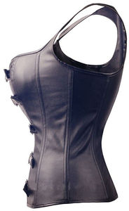 Image 3 - Sexy Lingerie Black Faux Leather Front Zipper Steel Boned Steampunk Corset Bustier Plus Size S 6XL