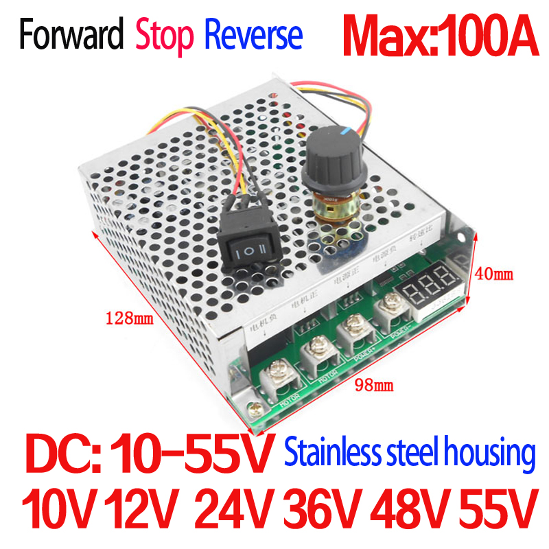 DC Motor Controller 5500W High Power 100A   DC 12V24V36V48V55V Motor Drive Motor rotation control: Forward / Stop / Reverse 10 50v 100a 5000w reversible dc motor speed controller pwm control soft start high quality