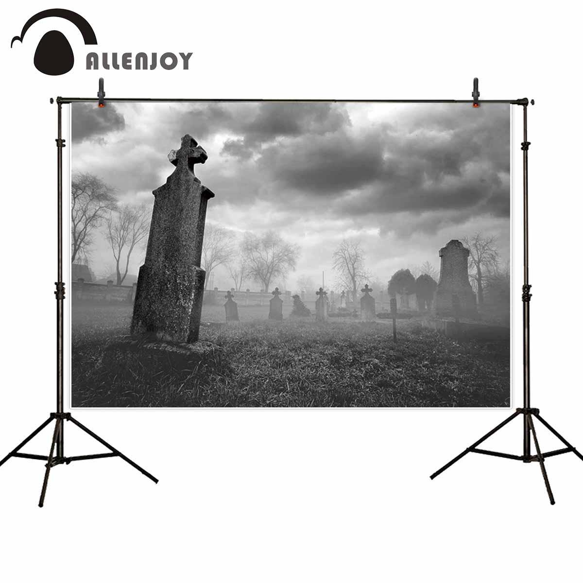 Allenjoy backdrop for photographic studio clouded haze horrified cemetery gravestone dead tree Halloween photocall