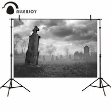 Allenjoy backdrop for photographic studio clouded haze horrified cemetery gravestone dead tree Halloween photocall
