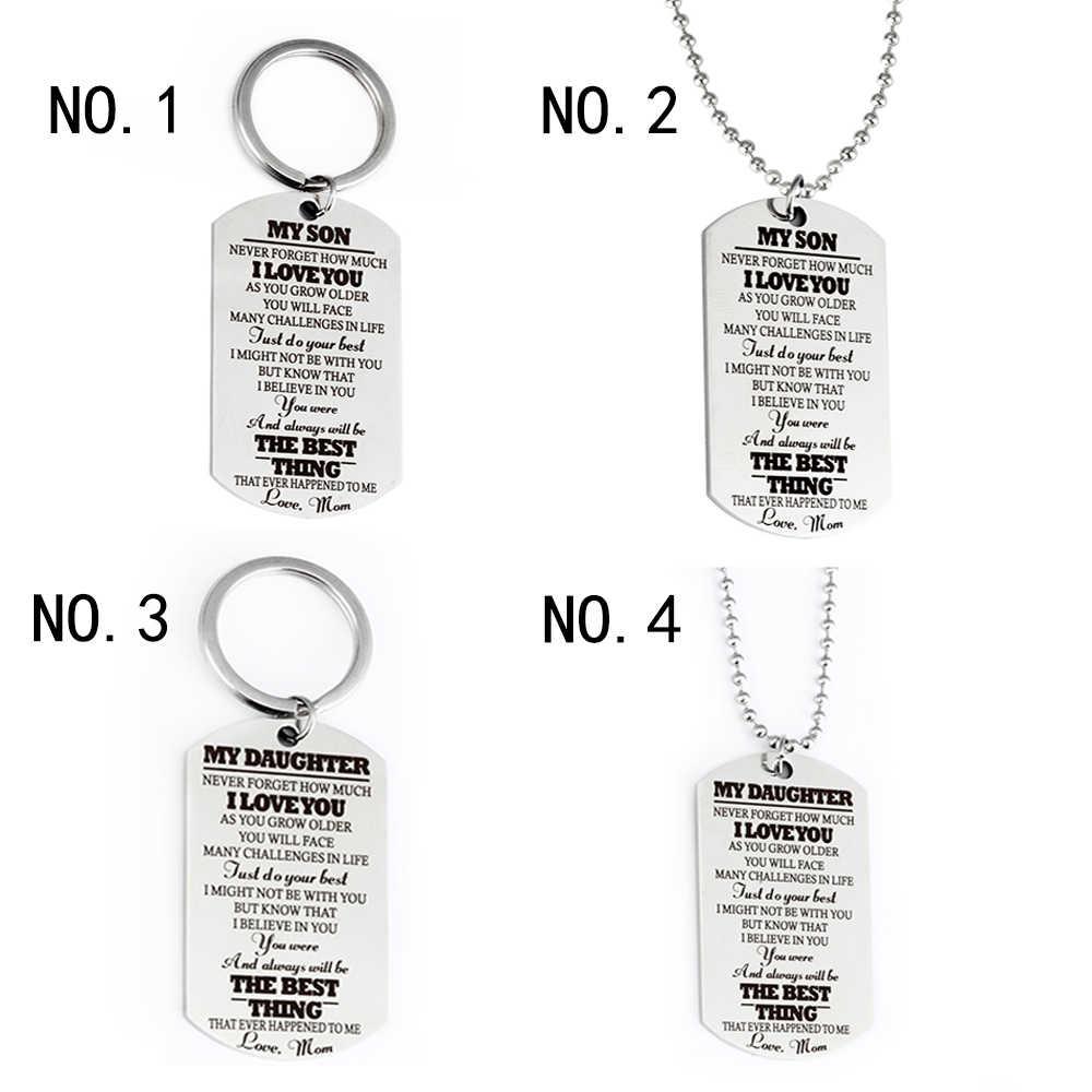 Untuk Anak Saya Putri Cinta Ibu Perhiasan Keluarga Charm Gantungan Kunci Gantungan Kunci Liontin Kalung Stainless Steel Dog Tag Hadiah Terbaik