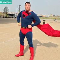 Free Shipping DHL Adult 2015 Superman Costume Navy Red Lycra Spandex Zentai Catsuit With Red Cloak