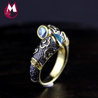 Topaz Enamel Ring 100% 925 Sterling Silver Ring For Women Carving Flower Diamond Fine Jewelry Luxury Natural Wedding SR16