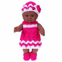 2pcs Set Baby Doll Toy African Model Kindergarten Vinyl And Silicone Dolls Rose Red Knit Dress
