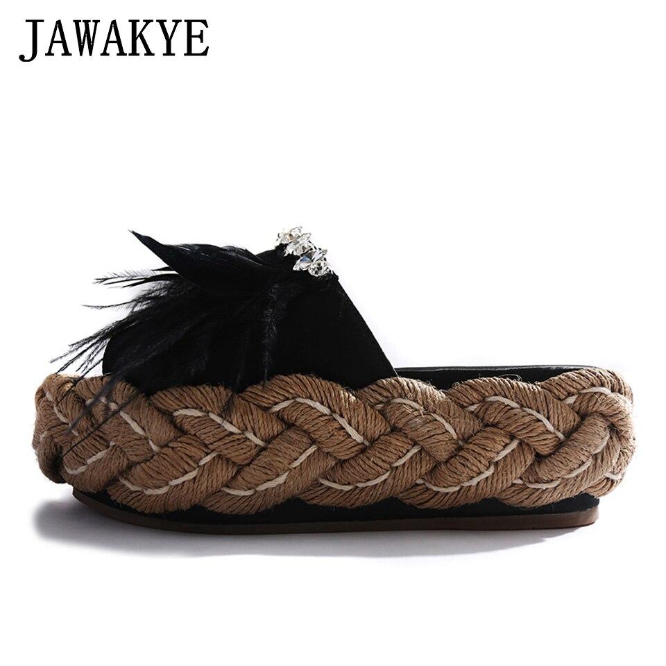 цена на New Thick bottom Women slippers black silk rhinestone Fur slippers Female Straw bottom Mules Summer Platform Shoes Women