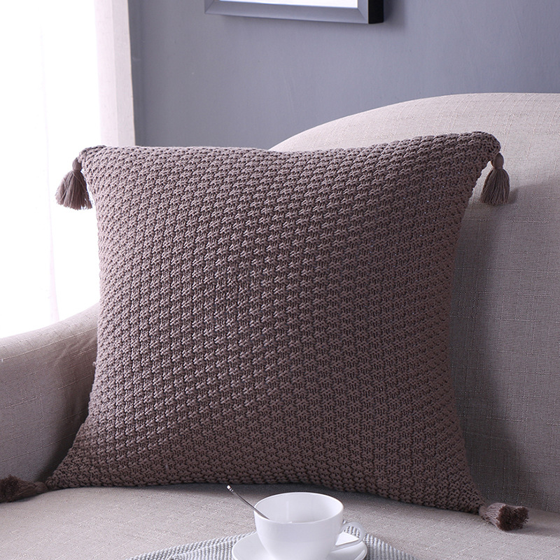 Solid Color Cotton Knitted Cushion