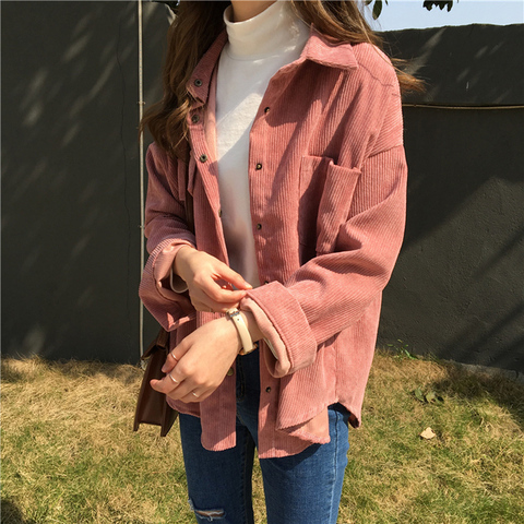 2019 Korean Long Sleeve Solid Jackets Outwear Spring Autumn Women Loose Jackets Casual Pocket Corduroy Jackets kz602 Lahore