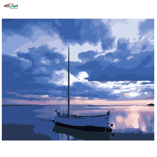 Sunset beach лодка Оформлена живопись by numbers Diy цифровая живопись маслом 40x50 см Цифровая Живопись Маслом На Холсте ручная работа szyh055