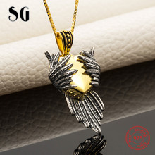 SG Hot sale love heart wing pendant necklaces with chain necklace 925 sterling silver  fashion jewelry making for women gifts strollgirl infinite love angle heart 925 sterling silver chain pendant necklace fashion jewelry necklaces