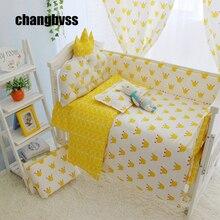 4-10pcs/set Yellow Color Baby Bedding Set 100% Cotton Crib Kids Newborn Cot Bedding Sets(bumpers+sheet+matress+quilt+filling)