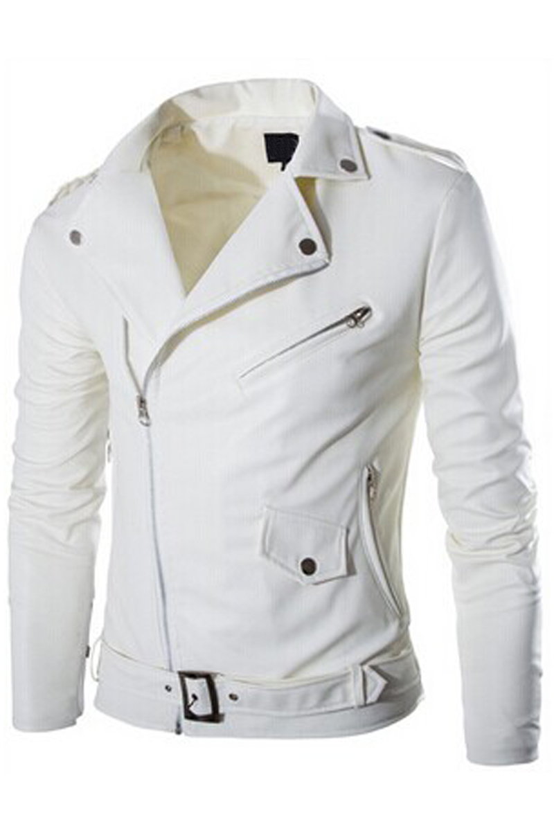 Mens Cool Fit Punk Zip Motorcycle Leather Jacket