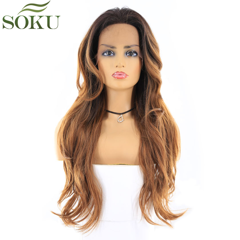 Synthetic Lace Front Wigs With Baby Hair SOKU 24 Inch Long Wavy Brown Free Part Glueless