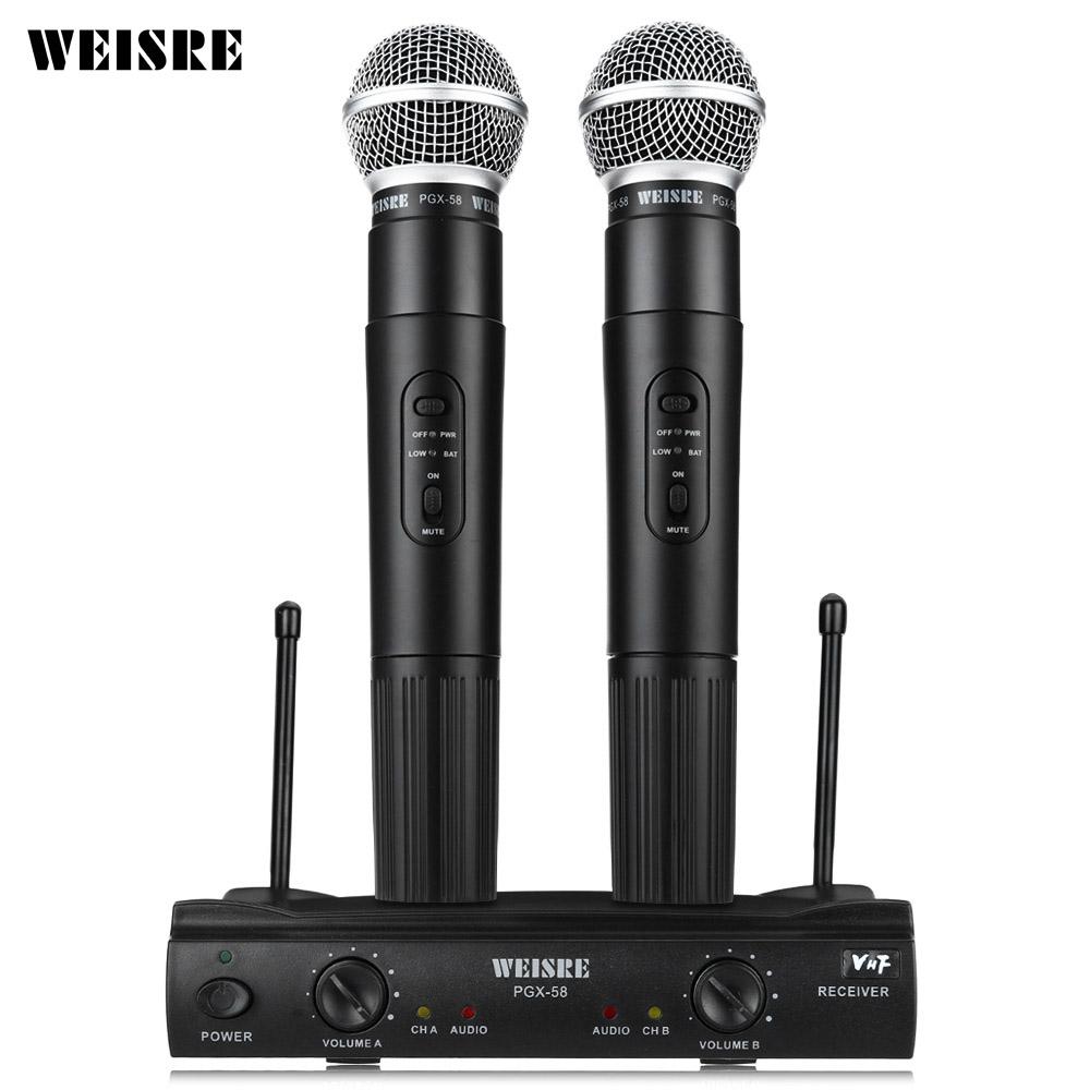 Prix pour Professionnel WEISRE PGX58 Microphone Sans Fil Système Mic Double De Poche + 2 x Mic Sans Fil Receiverfor Soirée Karaoké KTV