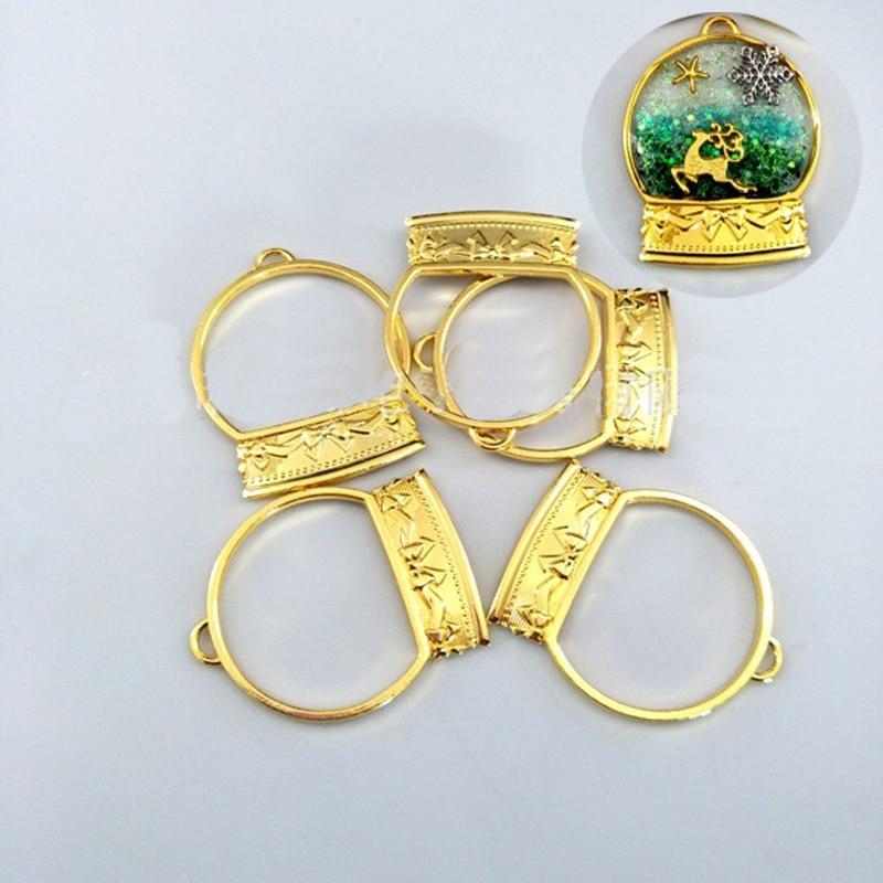 5 pçs/lote moldura de bola universal em forma de moldura de metal uv resina cola epoxy charme moldura de ouro jóias fazendo ferramentas moldura de resina