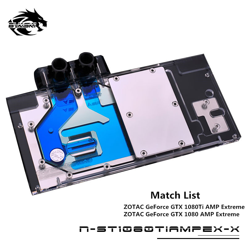 Bykski полный охват GPU воды блок для ZOTAC Geforce GTX 1080 AMP 1080Ti Extreme видеокарта материнская плата AURA N-ST1080AMP-X