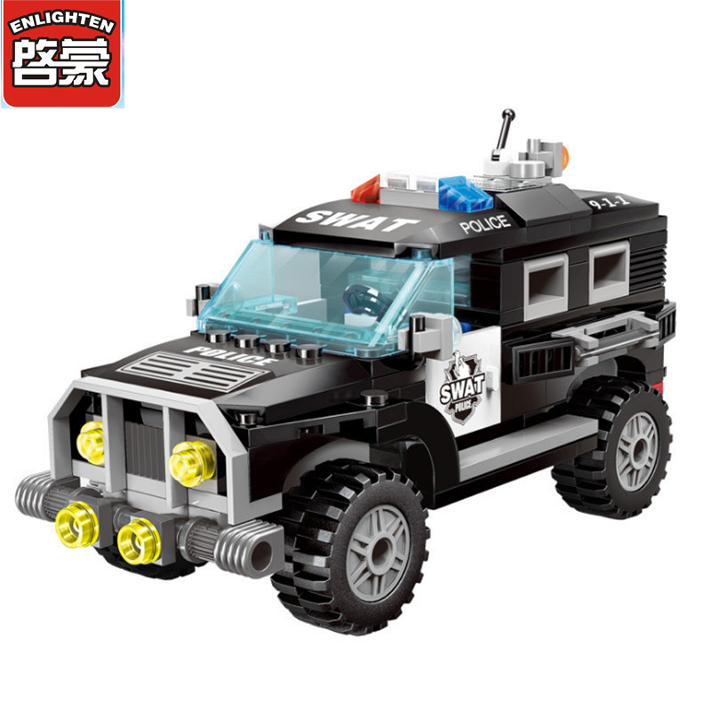 2017 190Pcs Enlighten City Series Police Swat Car Building Block sets Educational Bricks Toys For Children Compatible With Lepin 1713 city swat series military fighter policeman building bricks compatible lepin city toys for children lepin kazi bela sluban