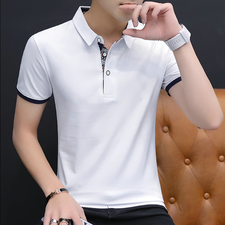 2019 Summer Short Sleeve   Polo   Patchwork Slim Shirt Men Cotton Grey Casual   Polo   Breathable Button White Shirt Mens Clothing