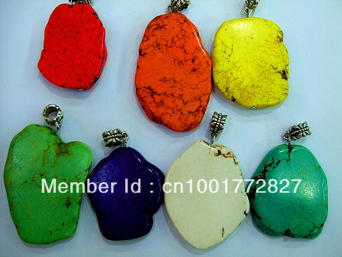 7pcs rainbow colour glamour colorful mixed stone dangle pendant necklace hide rope chain
