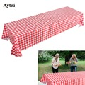 Aytai Plastic Red Tablecloth Disposabele Dinnerware Checkered Table Cover for Farm Birthday Party Disponsable Tableware Sets