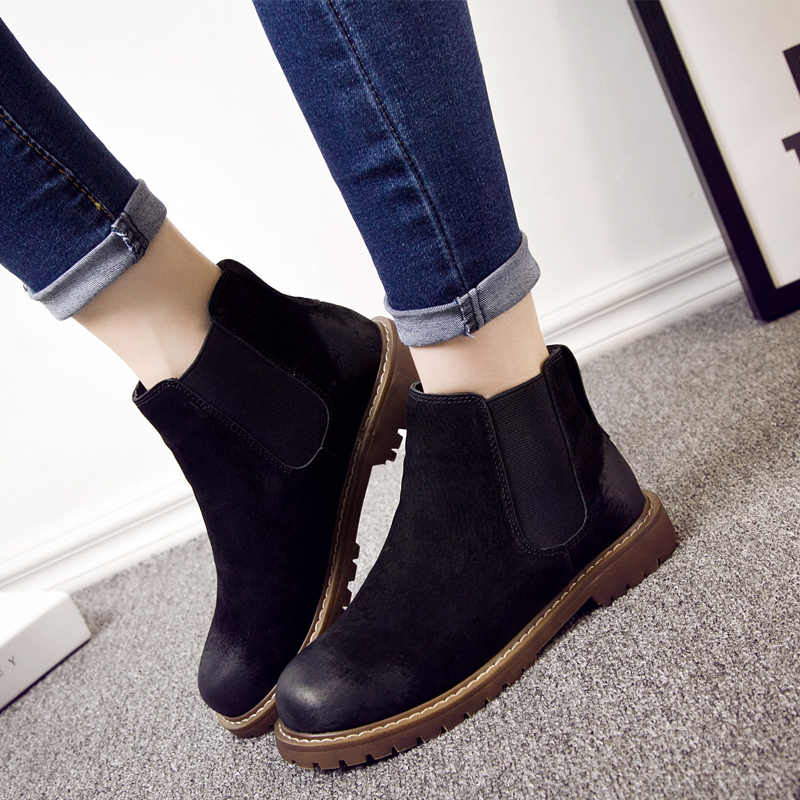 BIMUDUIYU ผู้หญิงรองเท้าหนังนิ่มฤดูใบไม้ร่วงฤดูหนาวรองเท้าบู๊ตคุณภาพสูงแบน Femmes รองเท้าผู้หญิงรูปแบบ Retro รองเท้าสั้น