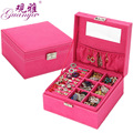 Fashion Square Velvet 2 Layer Portable Function Gift Box Necklace Earrings Bracelets Accessories Display Jewelry Organizer Boxes