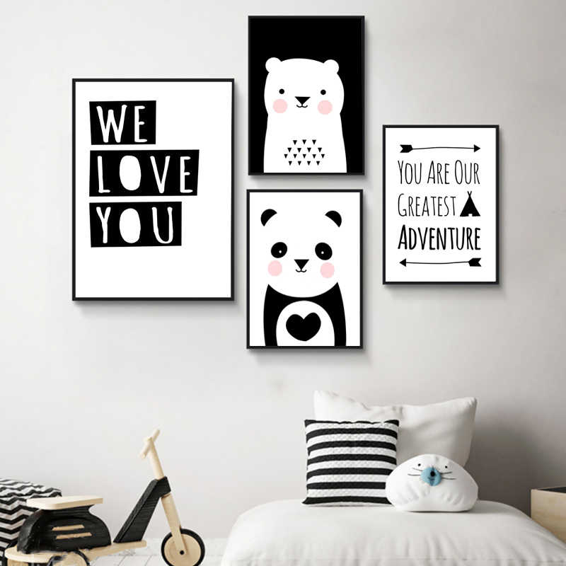 Baby Nursery Wall Art Canvas Poster Print Cartoon Minimalist Animal Painting Bear Panda Picture Nordic Kids Bedroom Decoration