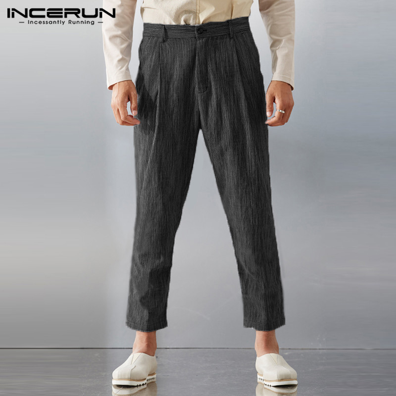 Men's Business Casual Pants Plus Size S-3XL Straight Pencil Trousers Ankle-Length Skinny Slim Fit Button Pockets Male INCERUN