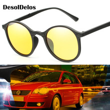 DesolDelos Hot Sale Men Mirror Polarized Sunglasses Women Round Black Frame Sport Glasses Unisex Driving Eyewear