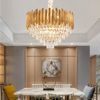 Новая хрустальная люстра, современные светильники для гостиной, роскошный светодиодный светильник для лобби